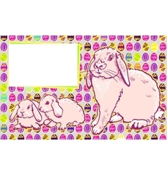 Bunny rabbits with Easter modern art vector image vector image
