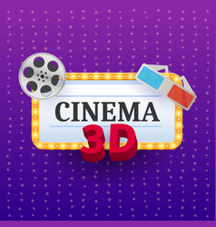 cinema banner movie watching with 3d glasses vector image