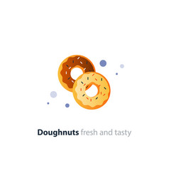 couple of donuts tasty doughnuts with different vector image