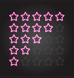 glowing pink neon lights 5 stars rating vector image