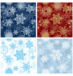 Set of Seamless Snowflake Patterns vector image vector image