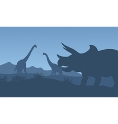 Silhouette triceratops and Brachiosaurus vector image vector image