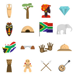 south africa travel icons set flat vector image