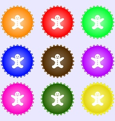 Gingerbread man icon sign Big set of colorful vector image