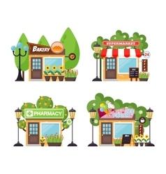Shop facade set vector image vector image