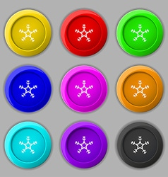 snow icon sign symbol on nine round colourful vector image