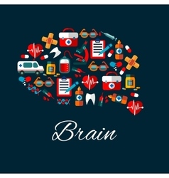 Brain with medical and healthcare flat icons vector image vector image