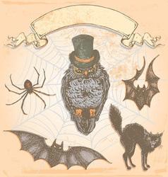 Hand Drawn Vintage Halloween Spooky Owl Set vector image