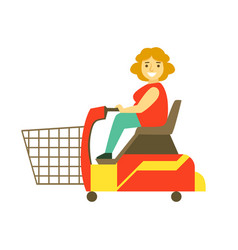 Handicapped shopping with mobility scooter vector