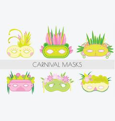 set of carnival masks masquerade masks in flat vector image vector image