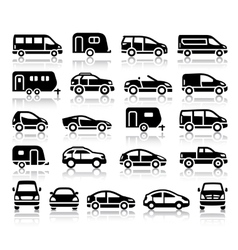 Set of transport black icons vector image vector image