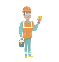 young house painter with brush and bucket of paint vector image