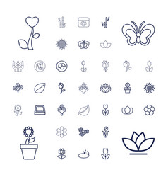 37 floral icons vector