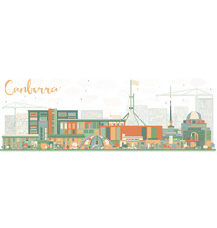 Abstract canberra skyline with color buildings vector