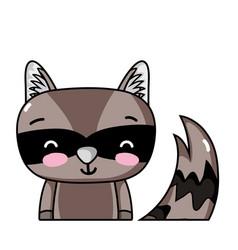 Adorable and smile raccoon wild animal vector