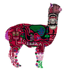 Alpaca with peruvian pattern vector