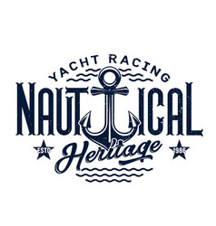 anchor with blue waves t-shirt print yacht club vector image