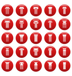 ancient columns icons set vetor red vector image
