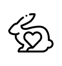 Animal rabbit and heart thin line icon vector