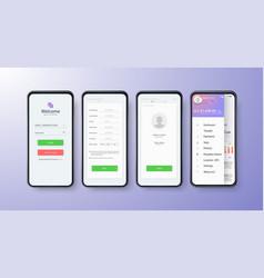 App ui kit for responsive mobile vector