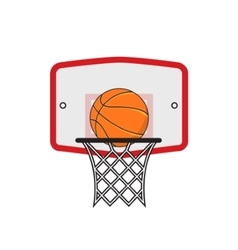 basketball hoop and orange ball on white vector image