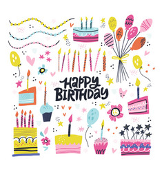 birthday party hand drawn set vector image