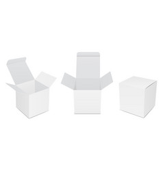 blank white product packaging boxes vector image