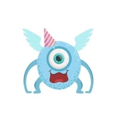 Blue Winged Friendly Monster In Party Hat vector image