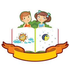 Boy girl children book isolated vector