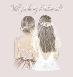 bride and bridesmaid side side wedding vector image