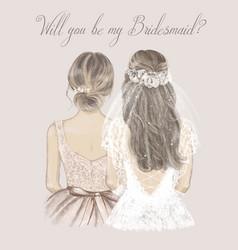 Bride and bridesmaid side side wedding vector