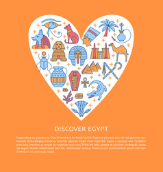 Bright banner with egypt symbols in colored line vector
