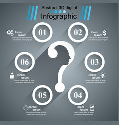 Business infographics question mark head avatar vector