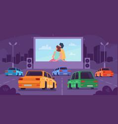 Car cinema drive movie theater couple on screen vector