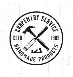 Carpentry service and woodworks emblem vector