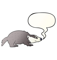 cartoon badger and speech bubble in smooth vector image