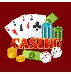 Casino gambling background or flyer with game vector