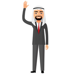 Cheerful saudi business man waving her hand vector