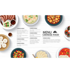 Chinese food menu restaurant on a white wooden vector