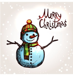 christmas card with hand drawn snowman vector image