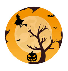 Circular landscape of tree and witch in halloween vector