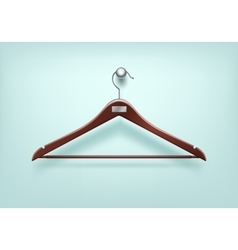 Clothes wooden hanger with metal tag on background vector