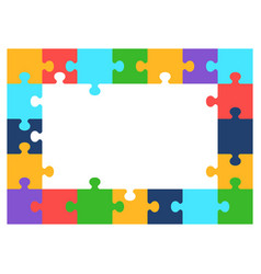 Color puzzle frame vector