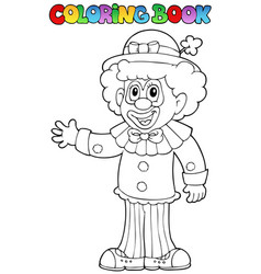 Coloring book with cheerful clown 3 vector