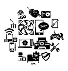Computer repair service icons set simple style vector