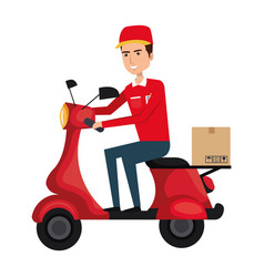 Courier in scooter icon vector