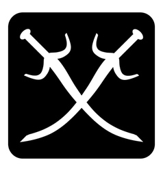 Crossed swords button vector image