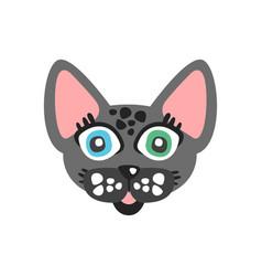 cute grey cat head funny cartoon animal character vector image