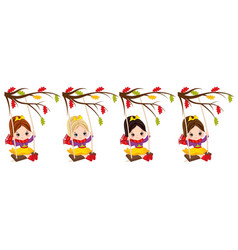 Cute little girls swinging on swings vector