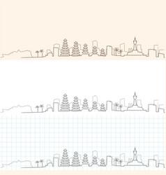 Denpasar hand drawn skyline vector